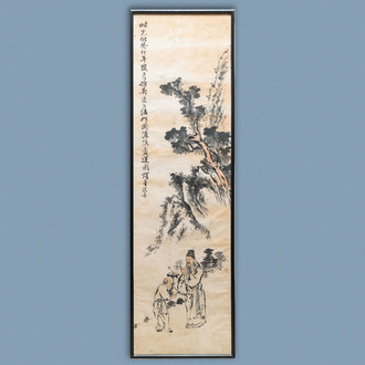 Yaotang (China, 19/20th C.), ink and colour on paper, dated 1903: 'Zhou Lianxi's lotus after Wu Daozi'