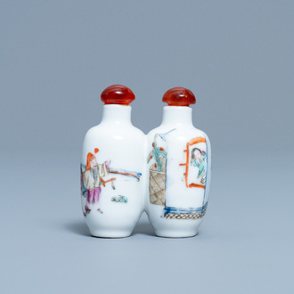 A double Chinese famille rose snuff bottle, 19th C.