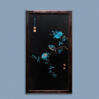 A Chinese black silk-ground panel with a kingfisher feather collage of a bird with pomegranates, 18/19th C.
