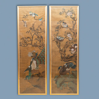 Shen Quan (1682-1762), ink and colour on silk, 18th C.: 'Two  scenes with birds'