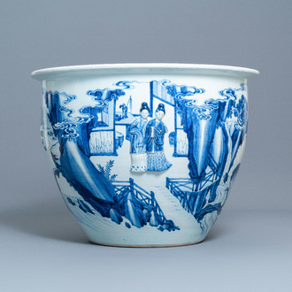 A rare large Chinese blue and white relief-moulded jardinière, Kangxi