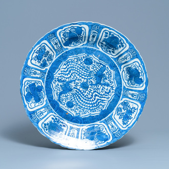 A very large Chinese blue and white kraak porcelain 'double phoenix' charger, Wanli