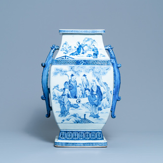 A large Chinese blue and white 'Seven Sages of the Bamboo Grove' vase, Qianlong