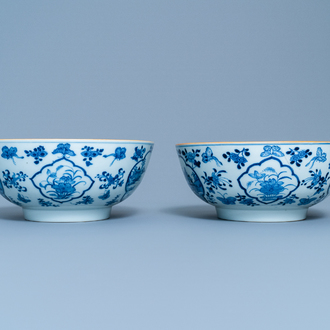 A pair of Chinese blue and white 'fishermen' bowls, Qianlong
