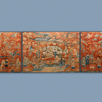 Three Chinese embroidered silk panels depicting an imperial audience, 19th C.