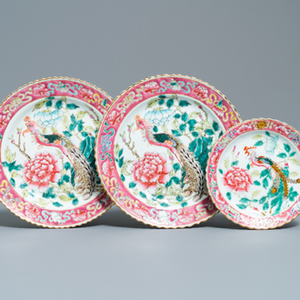 Three Chinese famille rose plates for the Straits or Peranakan market, 19th C.