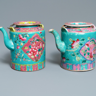 Two large Chinese turquoise-ground famille rose teapots for the Straits or Peranakan market, 19th C.
