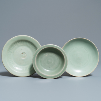 Three Chinese Longquan celadon dishes, Song and Ming