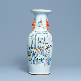 A Chinese qianjiang cai vase with women around a table, signed Yan Bing Jun, dated 1913