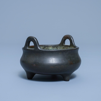 A Chinese bronze tripod censer, Xuande mark, 17/18th C.