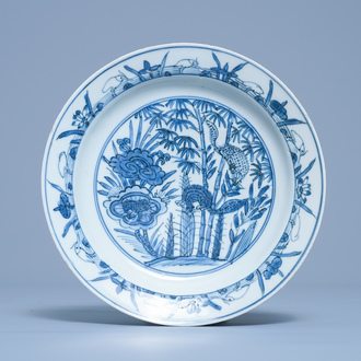 A Chinese blue and white plate with squirrels and a frog, Wanli