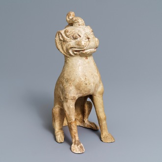 A Chinese pottery model of a qilin, Tang