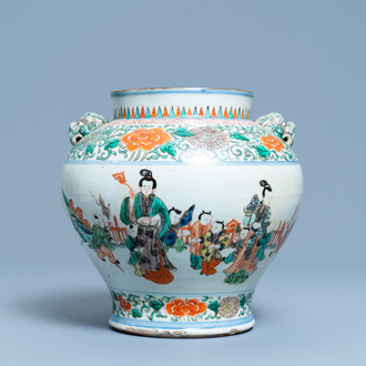 A Chinese famille verte 'playing boys' vase, 19/20th C.