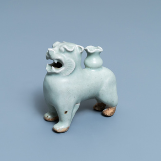 A Chinese qingbai joss stick holder in the shape of a tiger, Ming