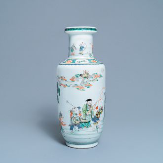 A Chinese famille verte rouleau 'immortals' vase, Kangxi
