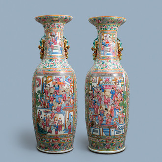 A pair of massive Chinese famille rose vases, 19th C.