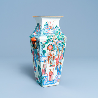 A square Chinese famille rose 'immortals' vase, 19th C.