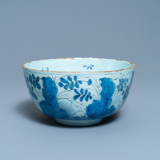 A blue and white English Delftware bowl dated 1684