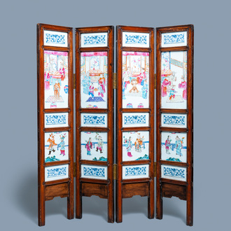 A Chinese wooden four-fold screen with famille rose plaques, 19th C.