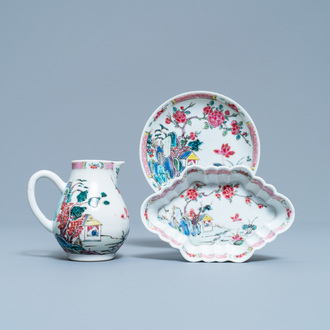 A Chinese famille rose 'mountainous landscape' jug, a pattipan and a saucer, Yongzheng