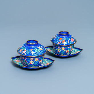 A pair of Vietnamese Phap Lam Hue enamel covered bowls on stands, 18/19th C.