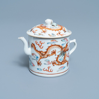 A Chinese famille rose dragon teapot and cover, 19th C.