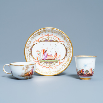 Two Meissen porcelain cups and a saucer, Germany, 18th C.