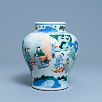 A Chinese wucai vase with equestrian scenes, 19th C.
