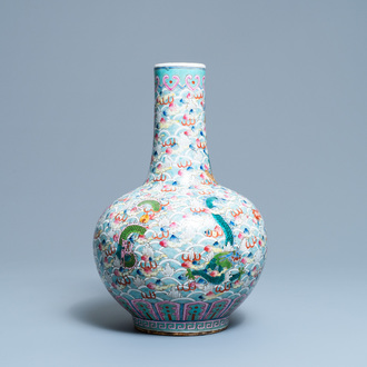 A Chinese famille rose bottle vase with dragons, 19th C.