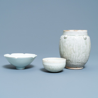 Two Chinese qingbai bowls and an urn, Song