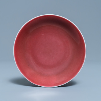 A Chinese monochrome langyao-glazed plate, Qianlong mark and of the period