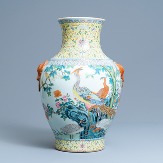 A large Chinese famille rose 'hu' vase with birds, Qianlong mark, Republic