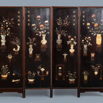 A Chinese lacquered wooden screen embellished with bone, wood and various stones, 18/19th C.