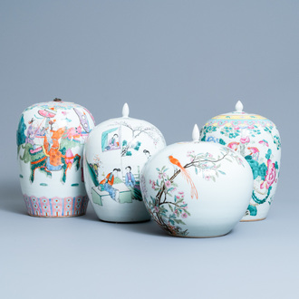Four Chinese famille rose and qianjiang cai jars and covers, 19/20th C.