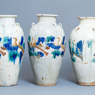 Three large Chinese polychrome relief-molded martaban jars, Qing