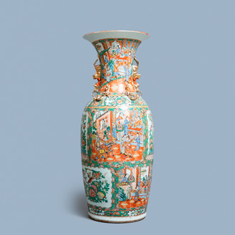 A large Chinese Canton famille rose vase, 19th C.