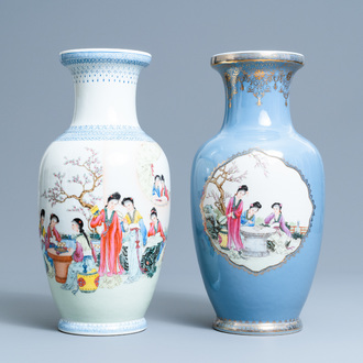 Two fine Chinese famille rose vases, Qianlong marks, Republic
