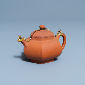 A Chinese gilt-mounted Yixing stoneware teapot and cover, Kangxi
