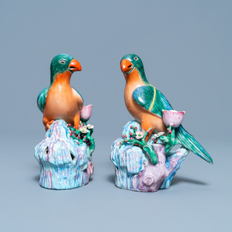 A pair of Chinese famille rose bird-shaped candlesticks, Qianlong