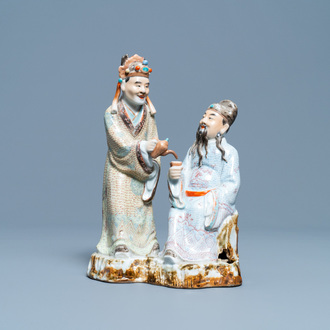A Chinese polychrome porcelain 'tea drinkers' group, seal mark, Republic