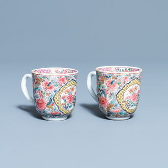 A pair of Chinese famille rose cups, Yongzheng