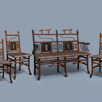 Three bamboo 'Japonism' chairs and a bench, probably Daï Nippon, Paris, late 19th C.