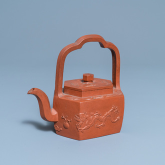 A Chinese Yixing stoneware teapot and cover, Kangxi
