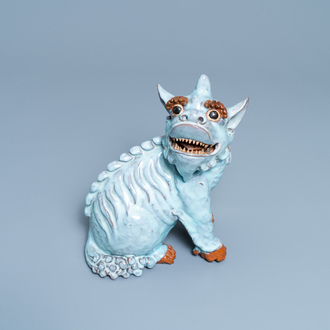 A Chinese robin's egg-glazed Shiwan pottery model of a qilin, 18/19th C.