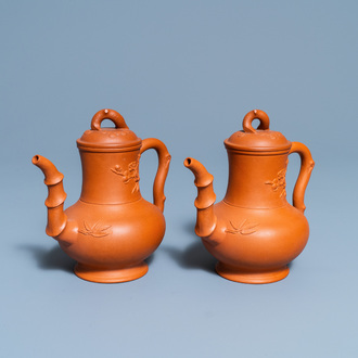 A pair of Chinese Yixing stoneware teapots and covers, Kangxi