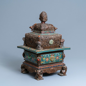 A large Chinese cloisonné censer with jade, coral and turquoise inlay, 19th C.