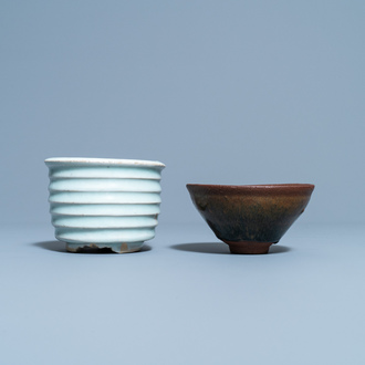 A Chinese qingbai censer and a  'Jian' hare's fur-glazed tea bowl, Song