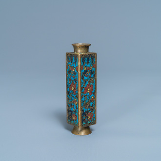 A small Chinese cloisonné cong vase, Wanli