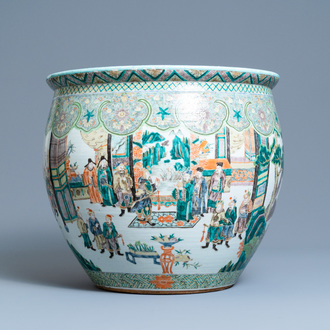 A large Chinese famille verte fish bowl, 19th C.
