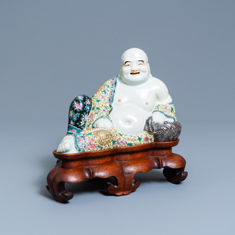 A Chinese famille rose figure of the reclining Buddha, seal mark, Republic